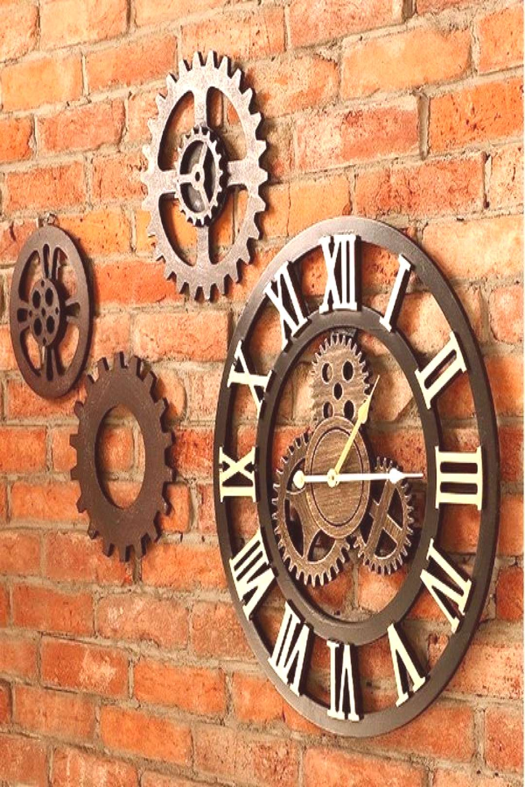Vintage Clock European Retro Vintage Handmade 3D Decorative Gear Wooden Vintage Wall Clock, 19.6-In