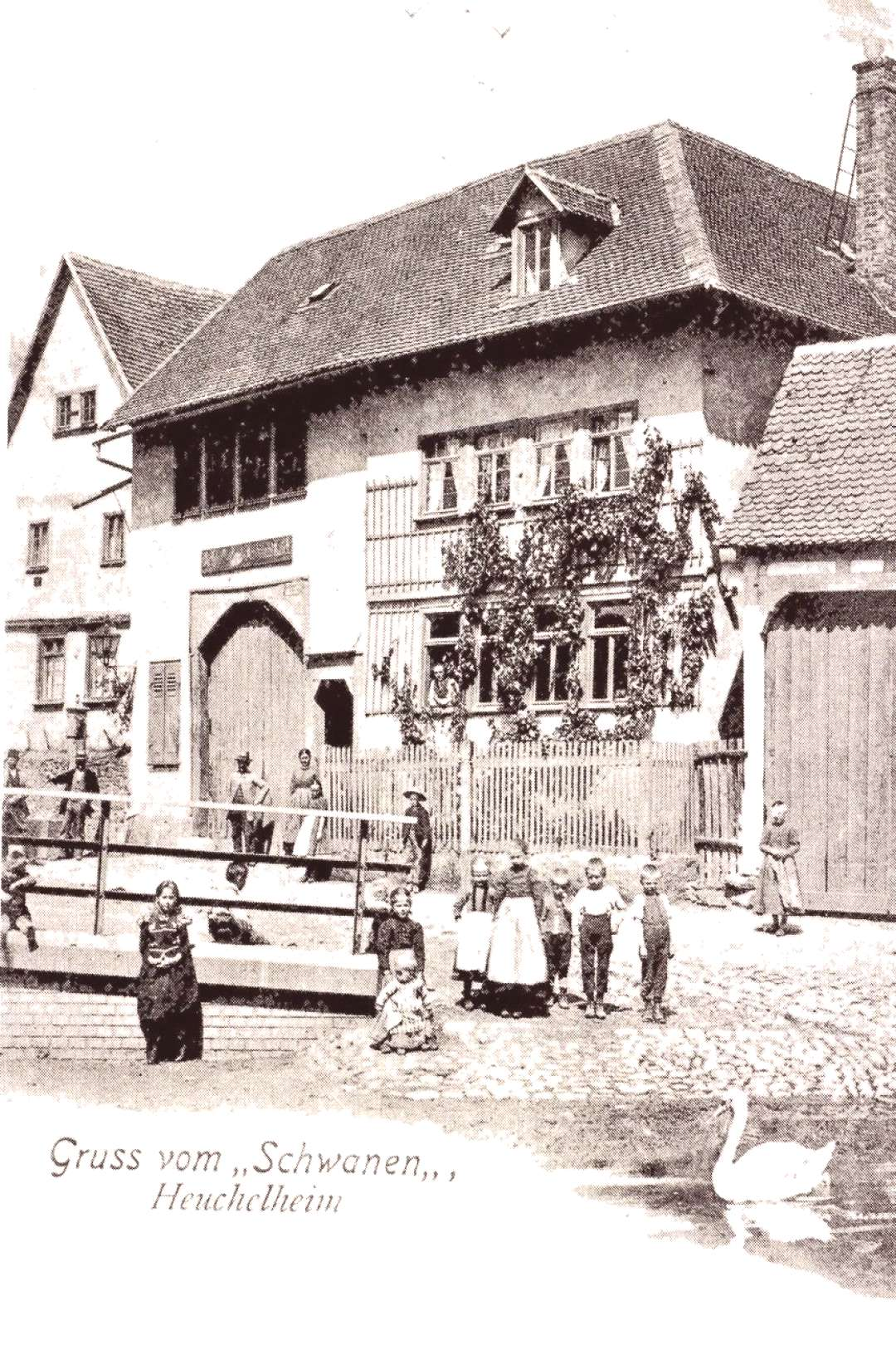 Vintage picture of an old inn in Heuchelheim, Hessen, Central Germany -