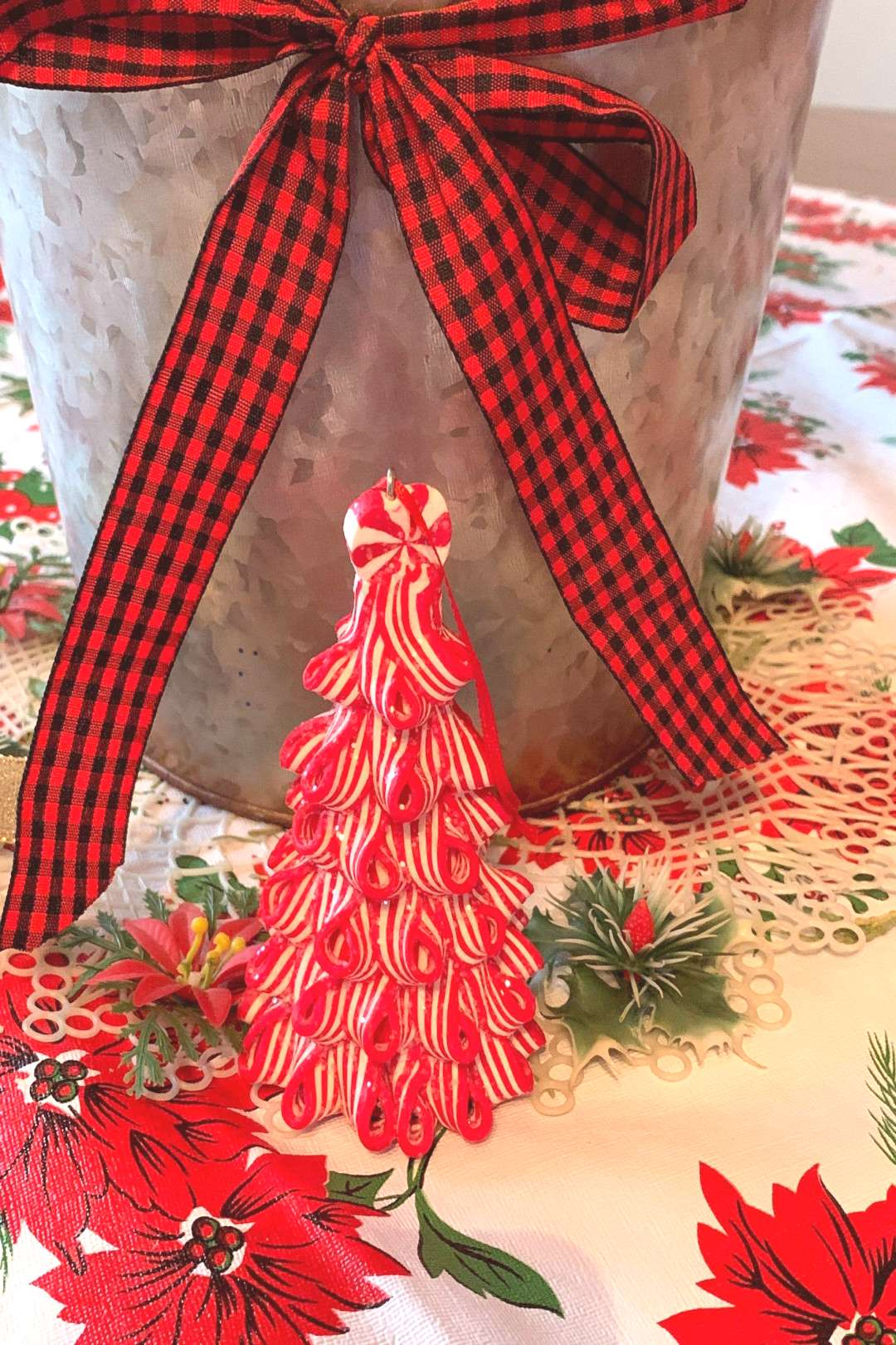 Vintage Retro Peppermint Candy Stripped Glitter Candy Cane Tree Five Inches Tall Vintage Retro Pepp