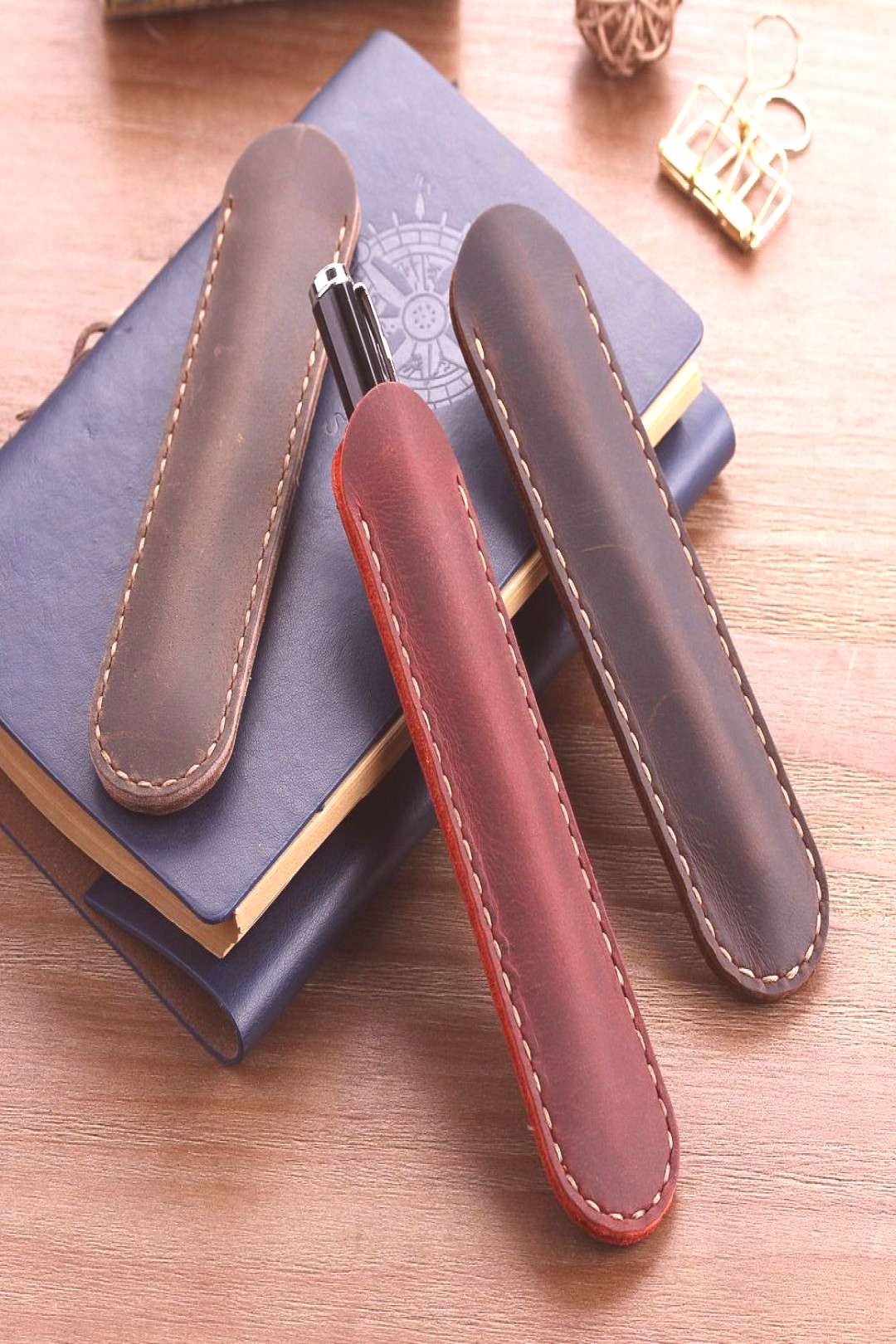 Vintage Retro Style Accessories For Travel Journal Handmade Genuine Leather Pencil Bag, Cowhide Fou