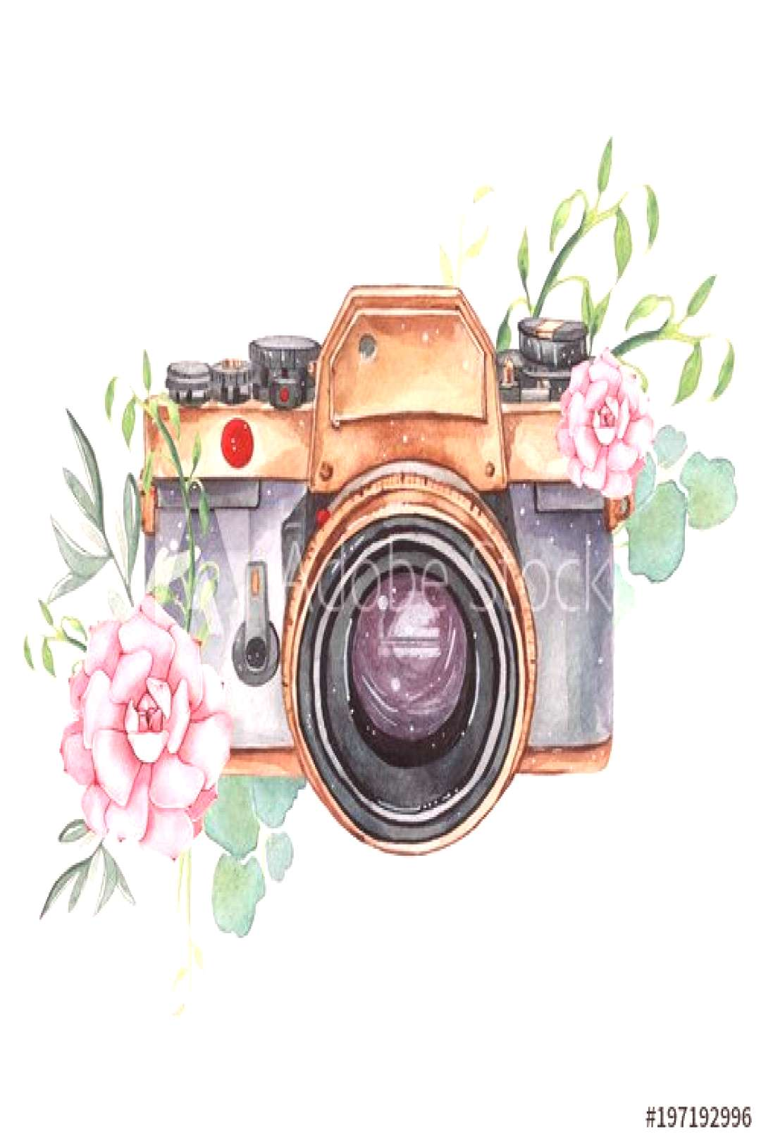 Vintage retro watercolor camera. Perfect for photography logo ,