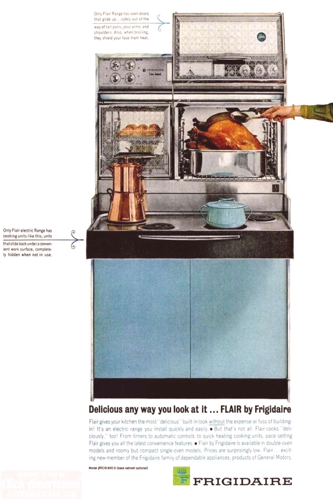 Vintage sixties kitchens with Flair ranges: Pull-out electric stoves and glass oven doors that open