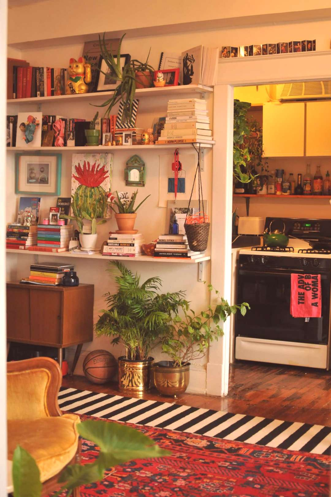 Wall to Wall Art, Plants amp Vintage Goodness in a Quirky Cool DC Apartment | Apartment Therapy