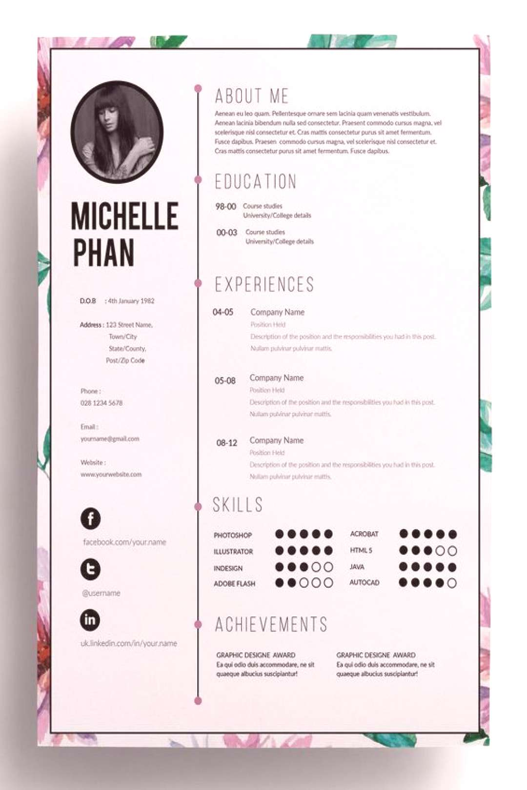 Watercolor floral CV template (+cover letter + reference template ) / 1 page resume / professional