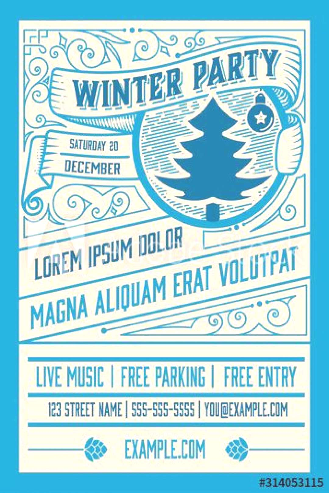 Winter party flyer retro typography and ornament decoration. Christmas holidays invitation or poste