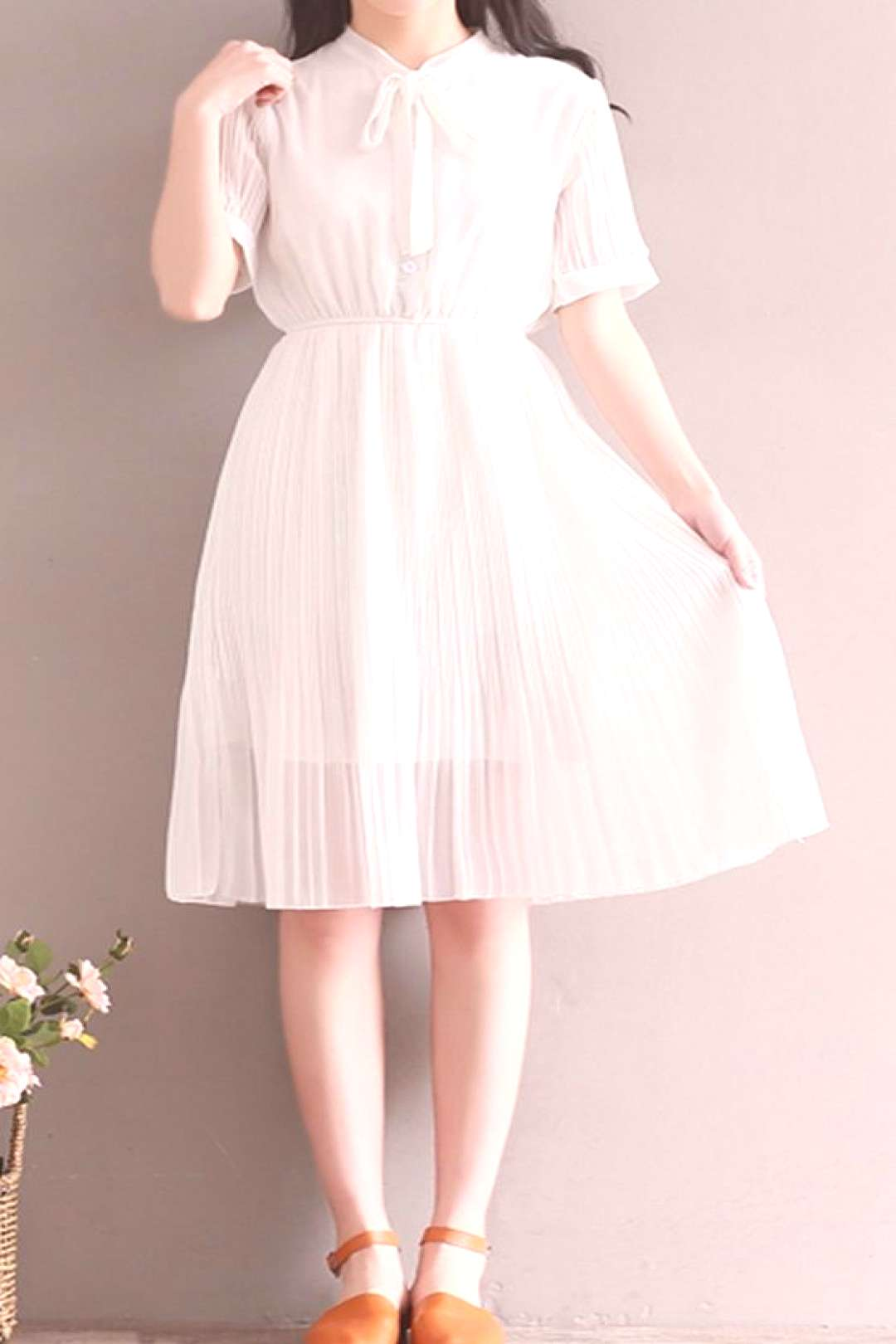 Women loose fit over plus size retro bow ribbon collar white dress classic chic#bow