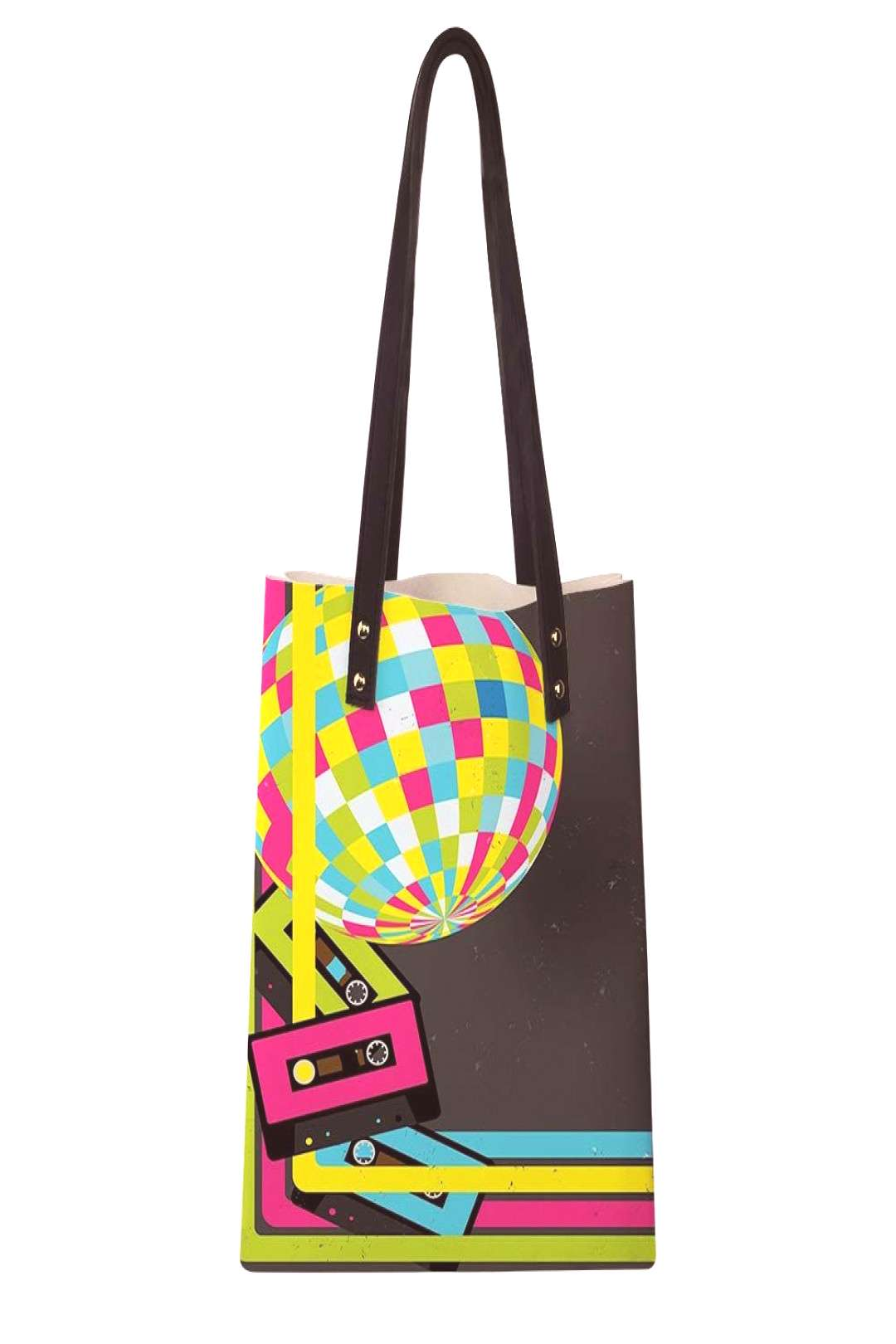 Womens Soft PU leather Tote Shoulder Bag,Retro Party Theme Disco Ball 80s Style Audio Cassette Tap