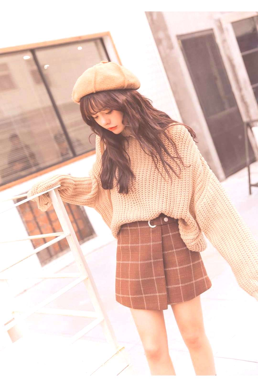 Woolen Plaid Harajuku Kawaii Retro Skirt Autumn and Winter -You can find Kawaii fashion and more on